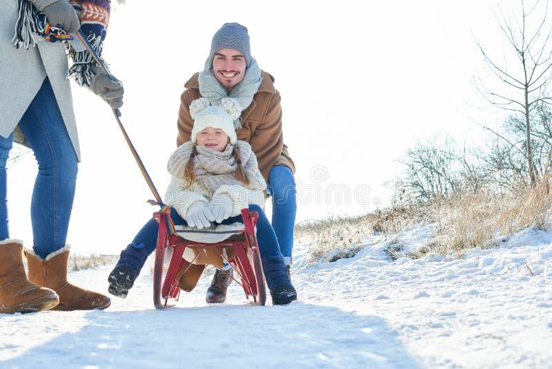 家庭获得乐趣在冬天 免版税库存照片
