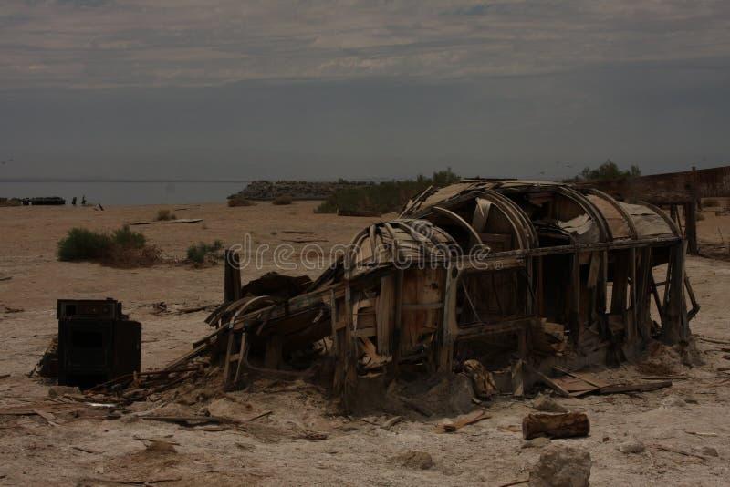 家庭被烧的拖车 免版税库存照片