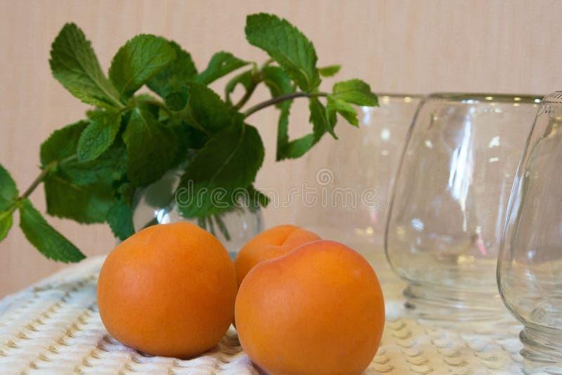 家庭装于罐中的大橙色杏子,薄荷和被消毒的瓶子 我们在家做杏子果酱 装于罐中 收获蜜饯 免版税库存图片
