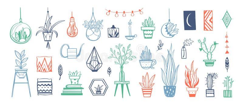 家庭装饰和议院植物导航手拉的集合 家庭装饰和室内设计元素 库存例证