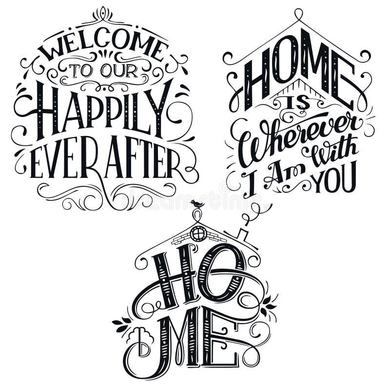 家庭装饰引述被设置的标志 库存例证
