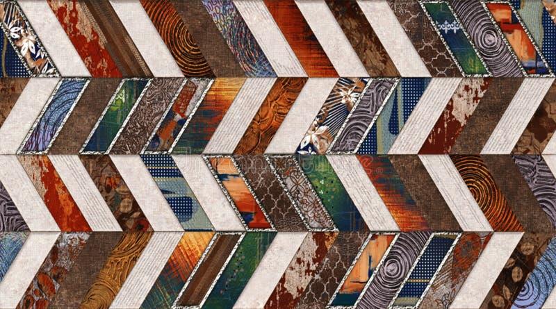 家庭装饰的多彩多姿的数字墙壁瓦片装饰或无缝的大理石木条地板纹理& x28;水平和垂直的V形臂章 库存例证