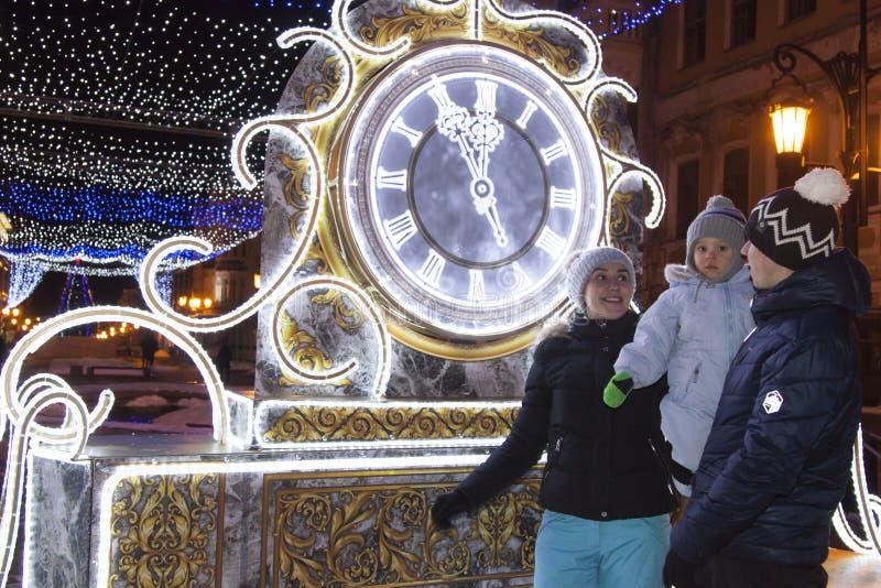 家庭见面新年 新的手表年 免版税库存照片