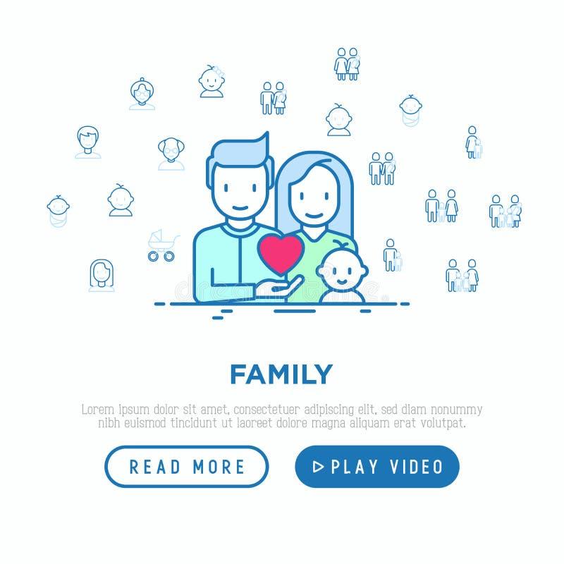 家庭观念:年轻加上新出生 稀薄的线象:母亲、父亲、儿子、女儿、女同性恋,快乐,单亲母亲和孩子, 皇族释放例证