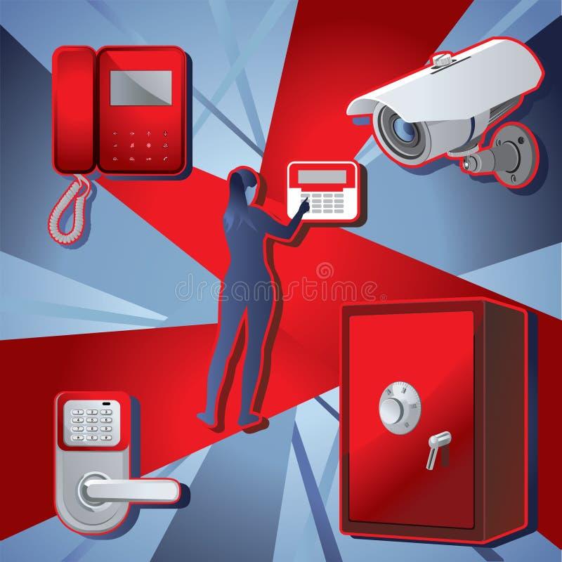 家庭警报,安全和人的形象 向量 库存例证