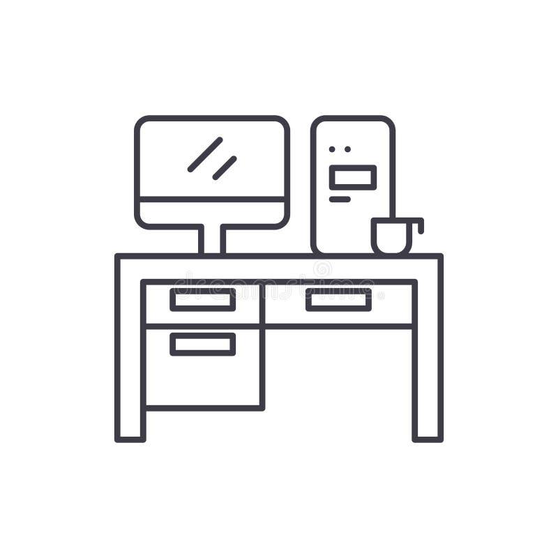 家庭计算机书桌线象概念 家庭计算机书桌传染媒介线性例证,标志,标志 库存例证