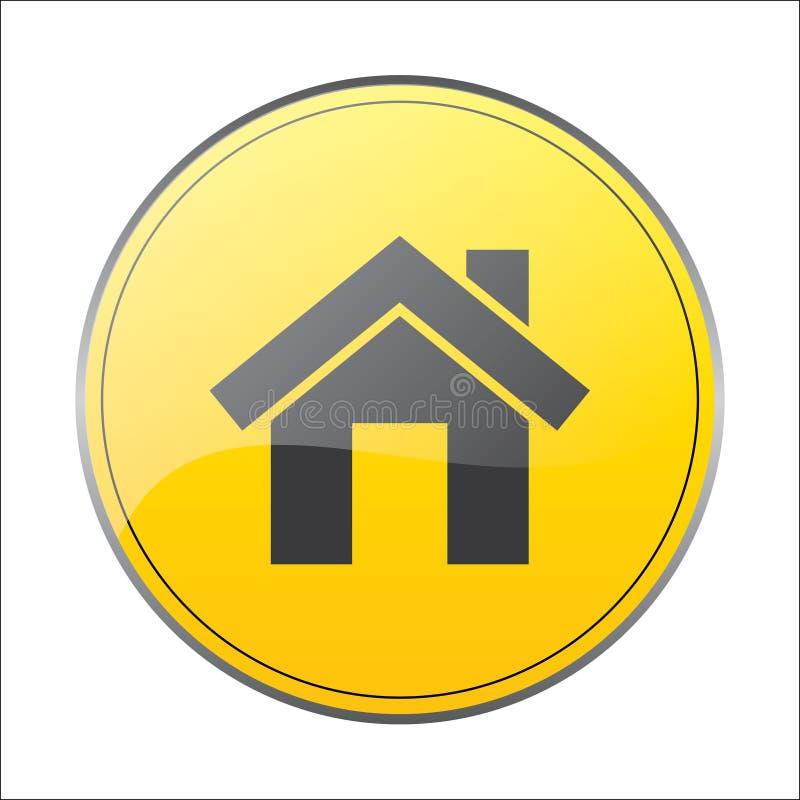 家庭象在黄色背景中签字 库存例证