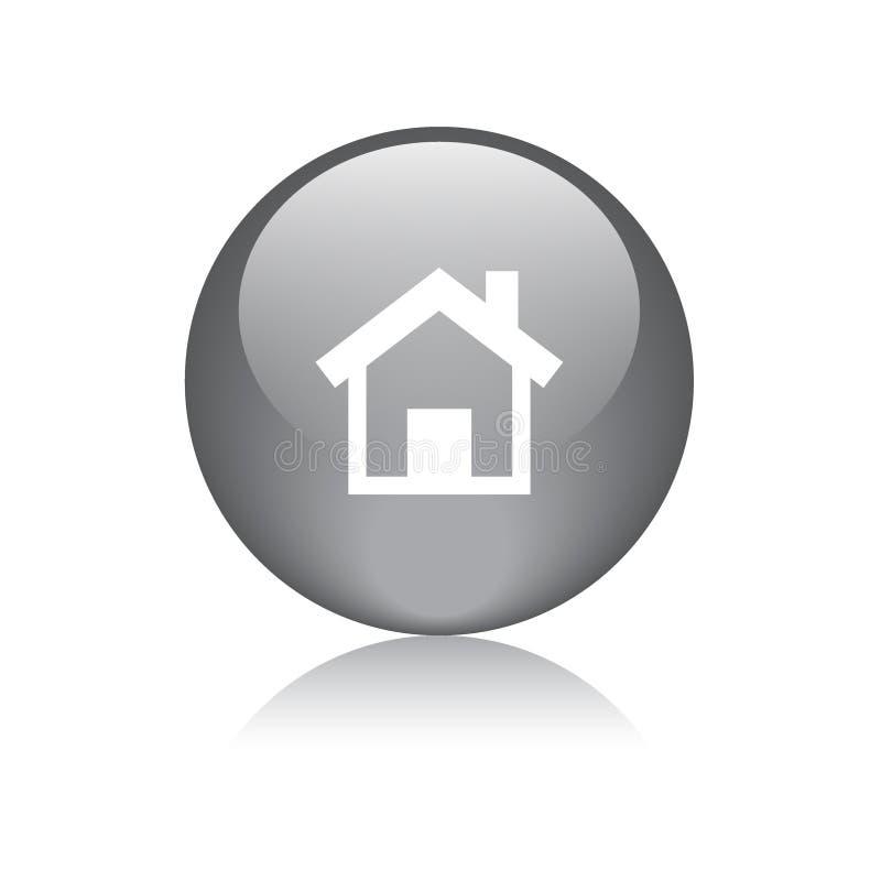 家庭象网按钮黑色 向量例证
