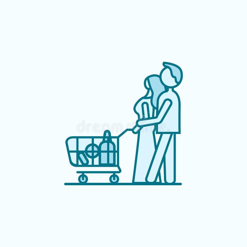 家庭购物的2种族分界线象 简单的色素例证 从购物中心的家庭购物的概述标志设计 皇族释放例证