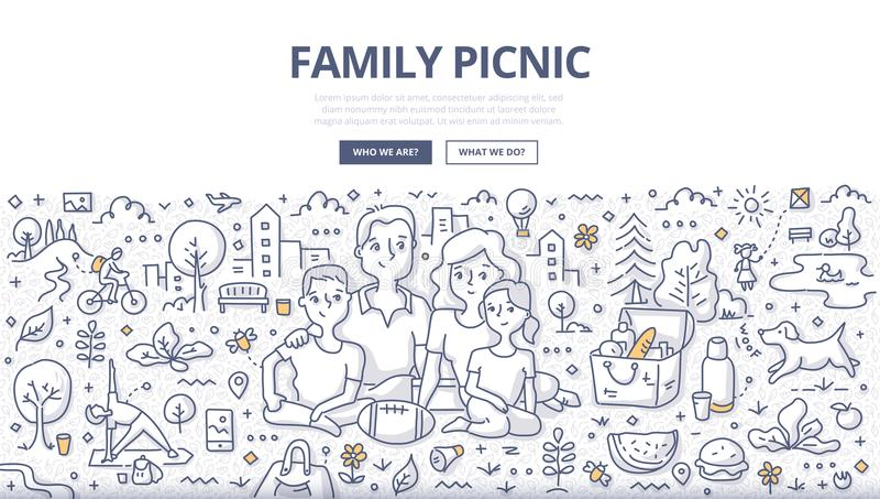 家庭野餐乱画概念 皇族释放例证