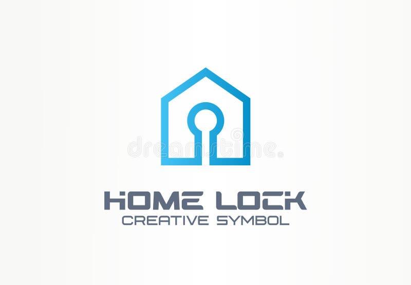 家庭锁创造性的标志概念 安全存取控制,帐户注册,修造的安全抽象企业商标 议院 库存例证