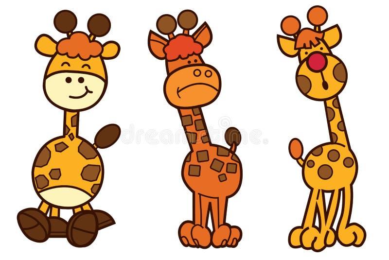 家庭长颈鹿漫画人物设计 向量例证