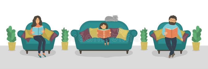 家庭阅读书 在沙发的母亲、父亲和女儿看书 向量例证