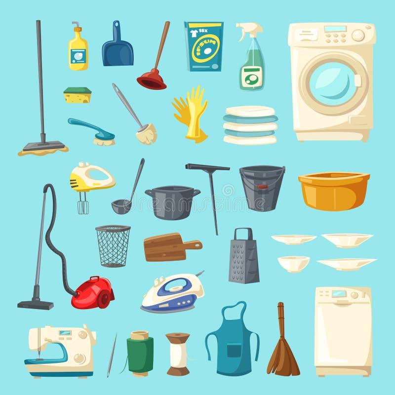 家庭项目和清洁物品象集合 向量例证