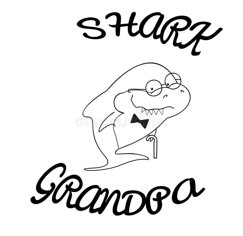 家庭鲨鱼 与藤茎和蝶形领结的祖父鲨鱼 海洋动物逗人喜爱的动画片概述  衣裳的印刷品或为 皇族释放例证