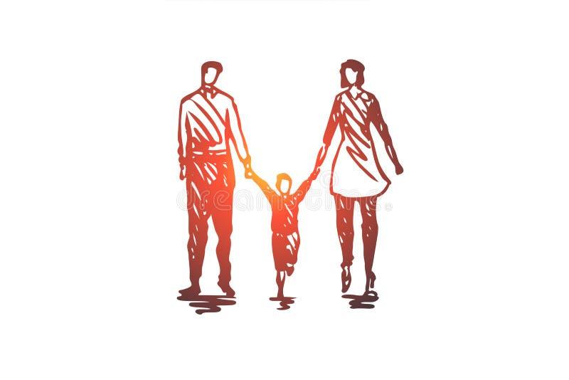 家庭,父亲,孩子,妇女,夫妇概念 手拉的被隔绝的传染媒介 皇族释放例证