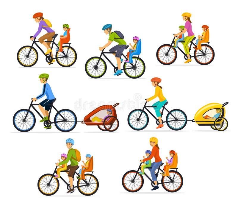 家庭,父母,有他们的孩子的,男孩和女孩人妇女,乘坐骑自行车 安全孩子位子和台车 皇族释放例证