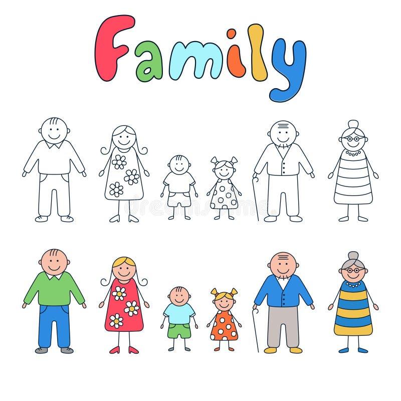 家庭:祖父母、父母和孩子 套在乱画和动画片样式的元素 向量例证