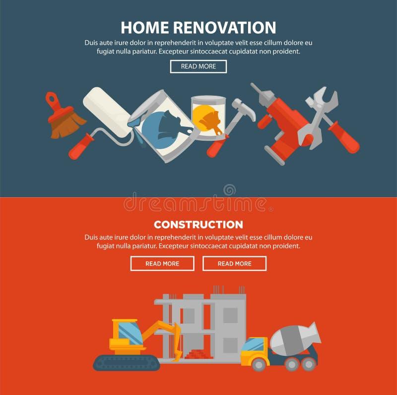 家庭整修和建筑传染媒介网横幅 修造的设备 皇族释放例证