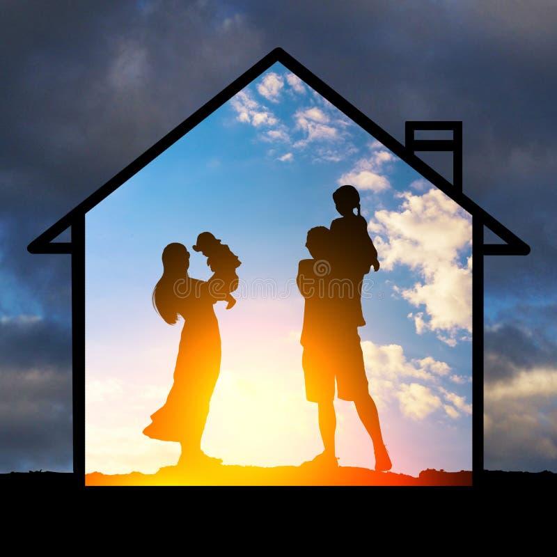 家庭价值观的保护 库存图片