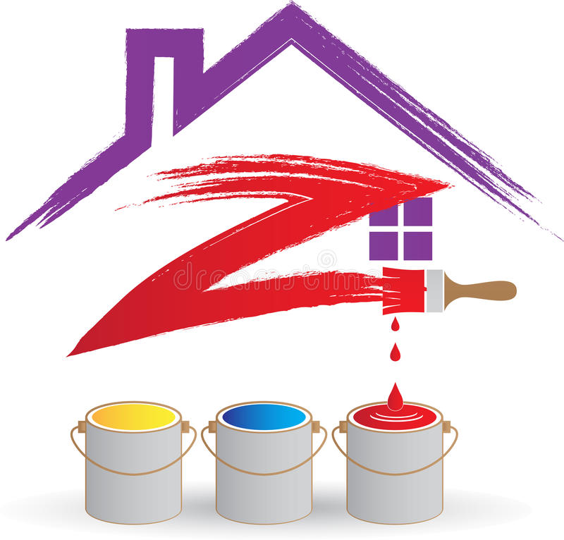 家庭绘画商标 皇族释放例证