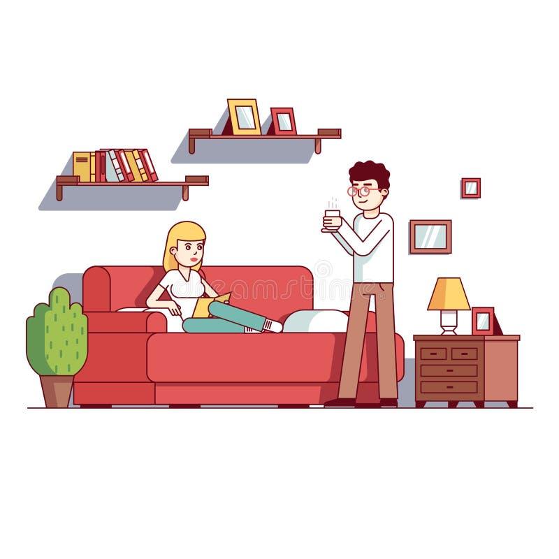 家庭妻子和丈夫在家庭客厅放松 皇族释放例证