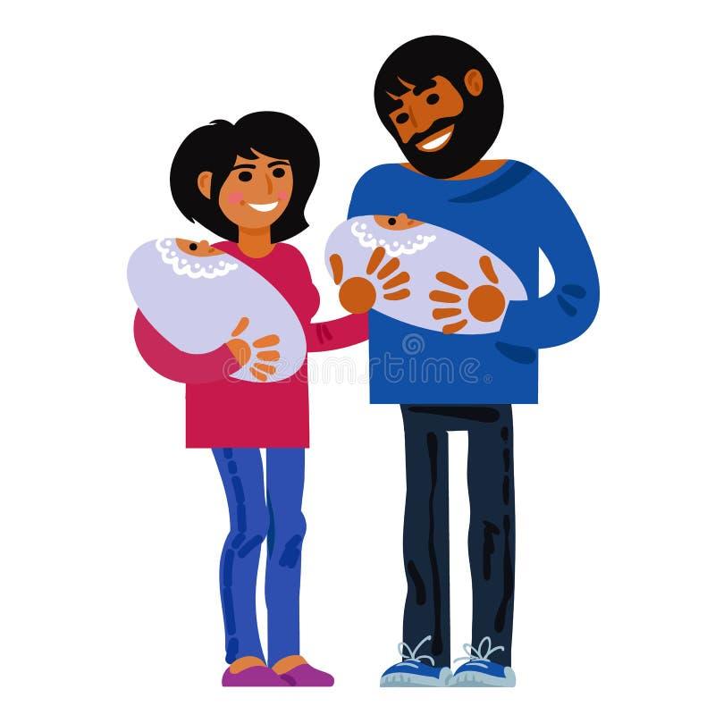 家庭 有新出生的孪生的愉快的年轻父母 母亲父亲和两个婴孩 儿童诞生概念 向量 向量例证