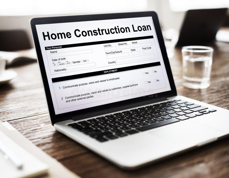 家庭建筑贷款文件形式概念 免版税库存照片