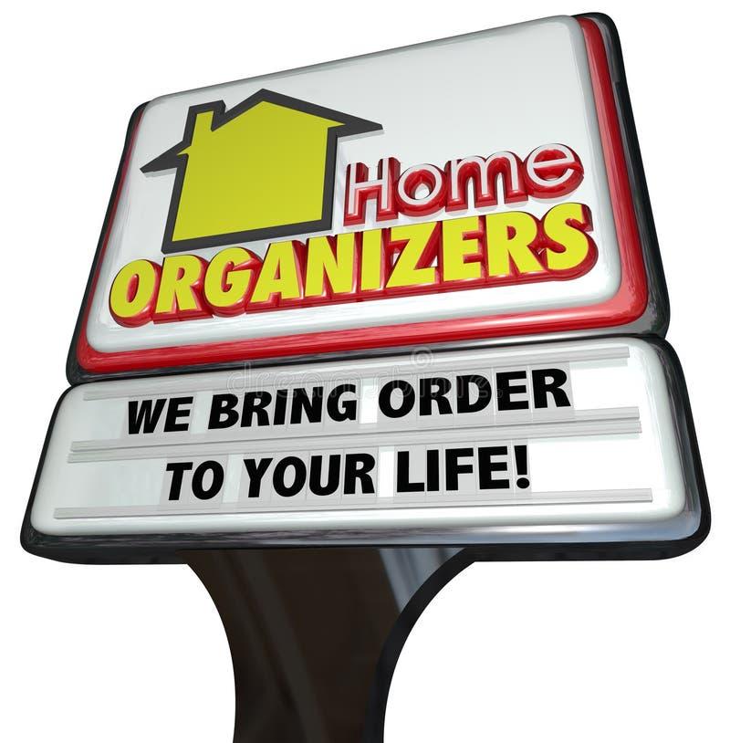 家庭组织者商店标志服务议院清洁顺序 库存例证