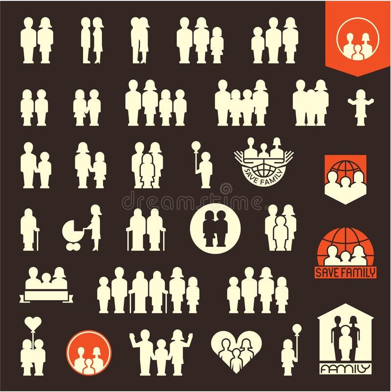 家庭 被设置的系列图标 人和家庭象 向量例证