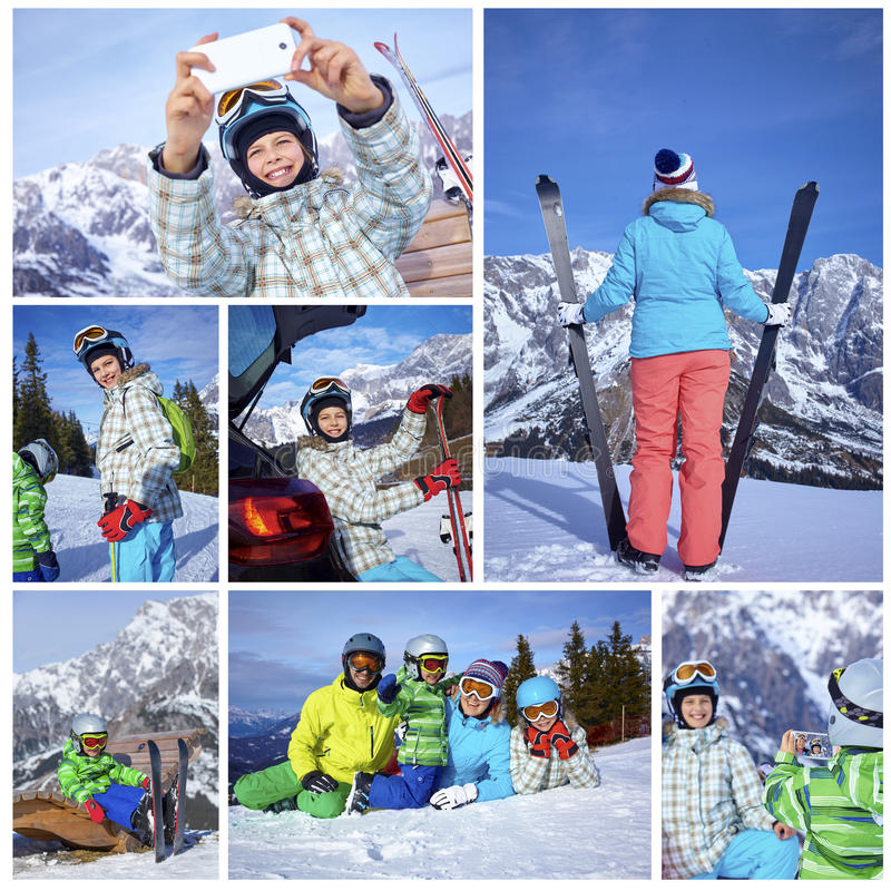 家庭滑雪假日 库存照片