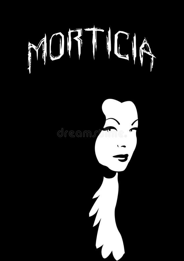 家庭Addams,万圣夜恐怖妇女, Morticia启发,被隔绝 皇族释放例证