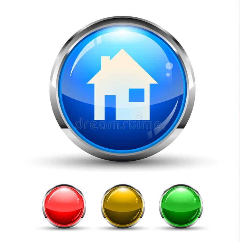 家庭Cristal光滑的按钮 向量例证