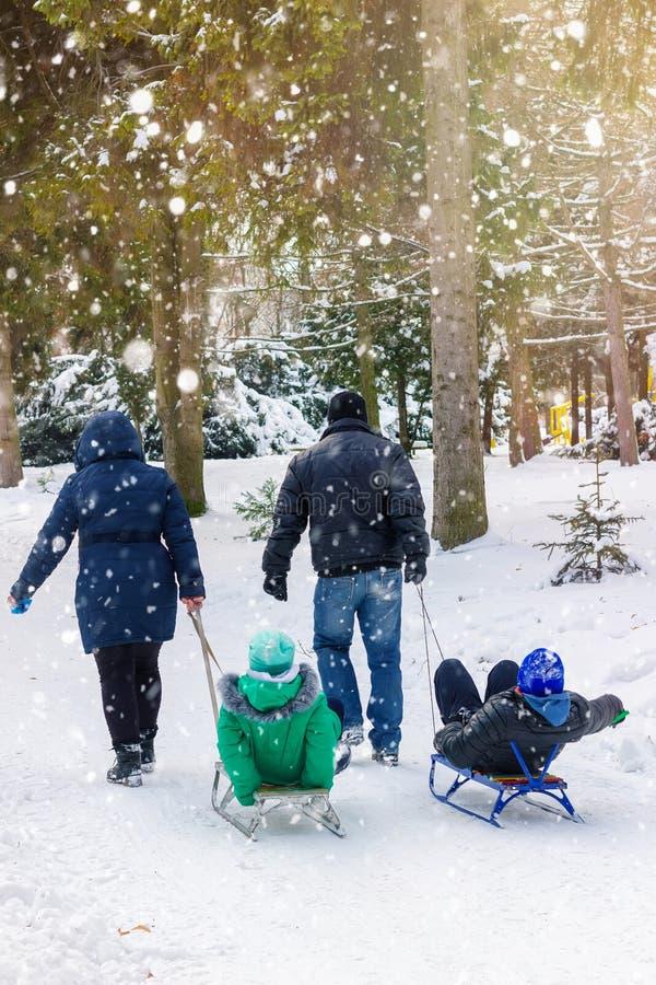 家庭sledding季节、丈夫和妻子在冬天公园拉扯有他们的孩子的两爬犁,户外,降雪 免版税库存照片