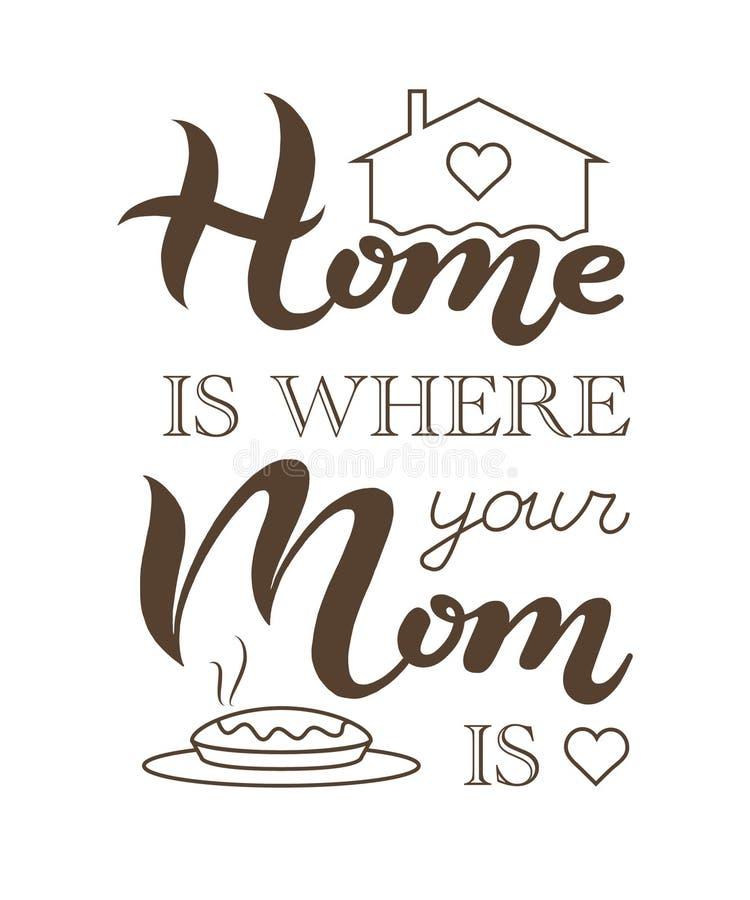 家是您的妈妈是词组的地方 向量例证