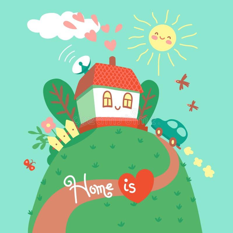 家是您的重点的地方 与逗人喜爱的房子和汽车的卡片 也corel凹道例证向量 向量例证