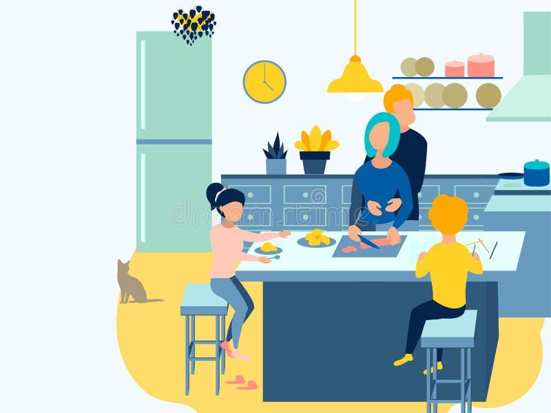 家用家具,早餐家庭准备食物 在最低纲领派样式动画片平的光栅 库存例证