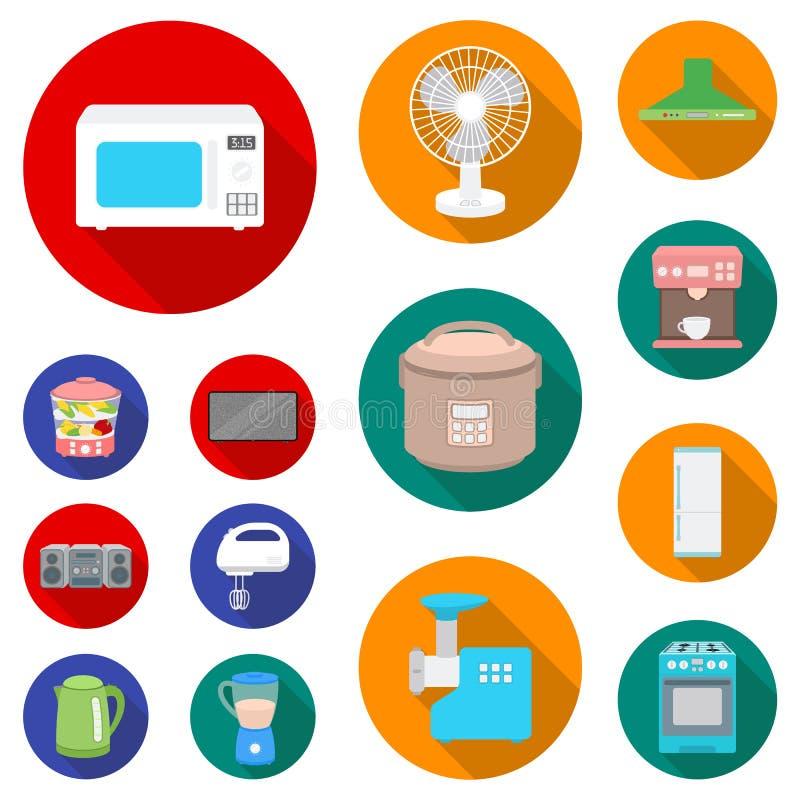 家用电器平的象的类型在集合汇集的设计 厨房设备传染媒介标志股票网图片