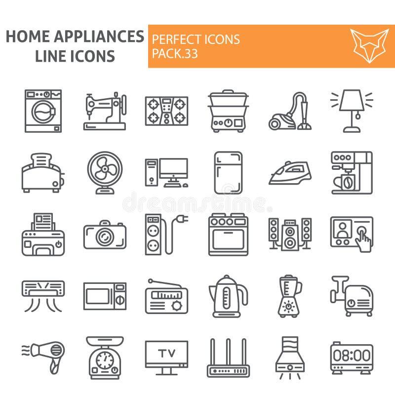家用电器排行象集合,家庭标志汇集,传染媒介剪影,商标例证,线性器物的标志 向量例证