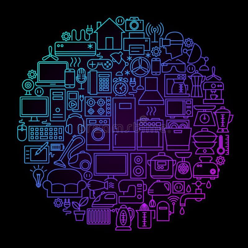 家用电器线圈子概念 向量例证
