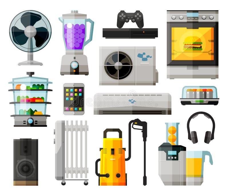 家用电器象汇集 向量 库存例证
