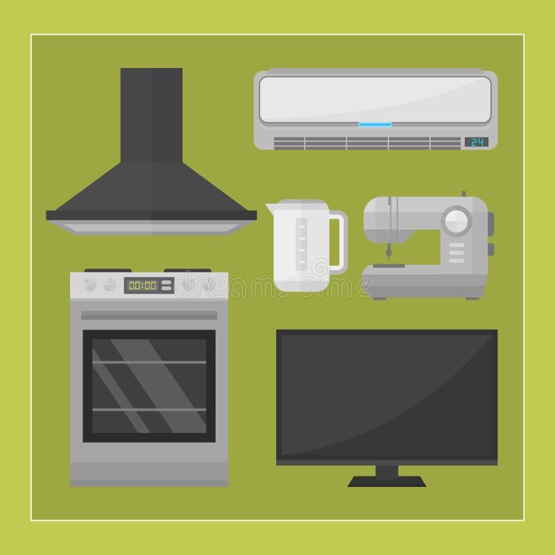 家电厨房设备国内电工具技术家庭洗衣店和清洗的小组机器 皇族释放例证