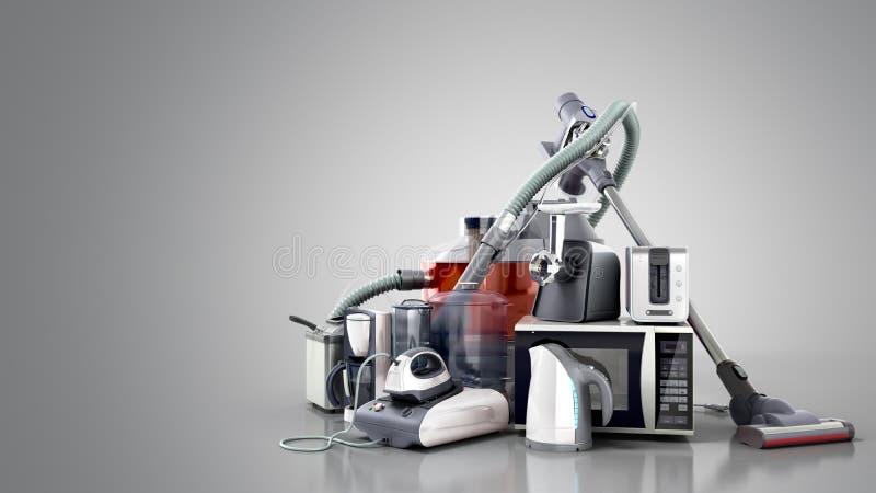 家电小组吸尘器微波铁咖啡ma 免版税库存照片