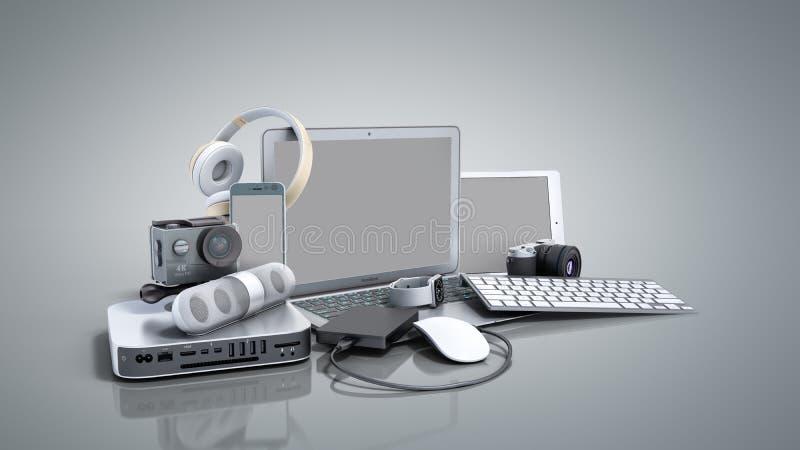 家电3D的汇集在灰色背景回报 库存例证