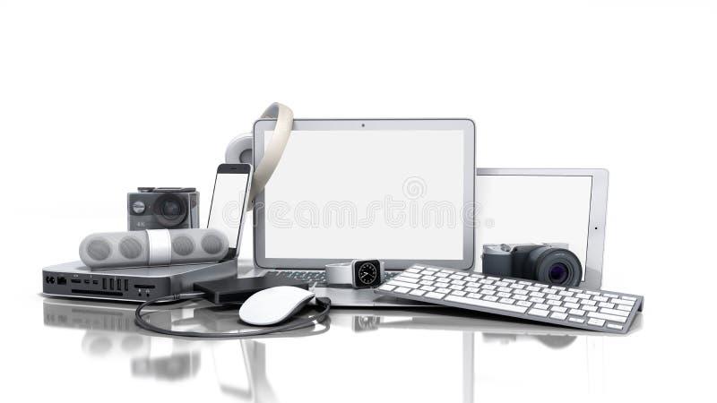 家电3D的汇集在白色背景回报 向量例证
