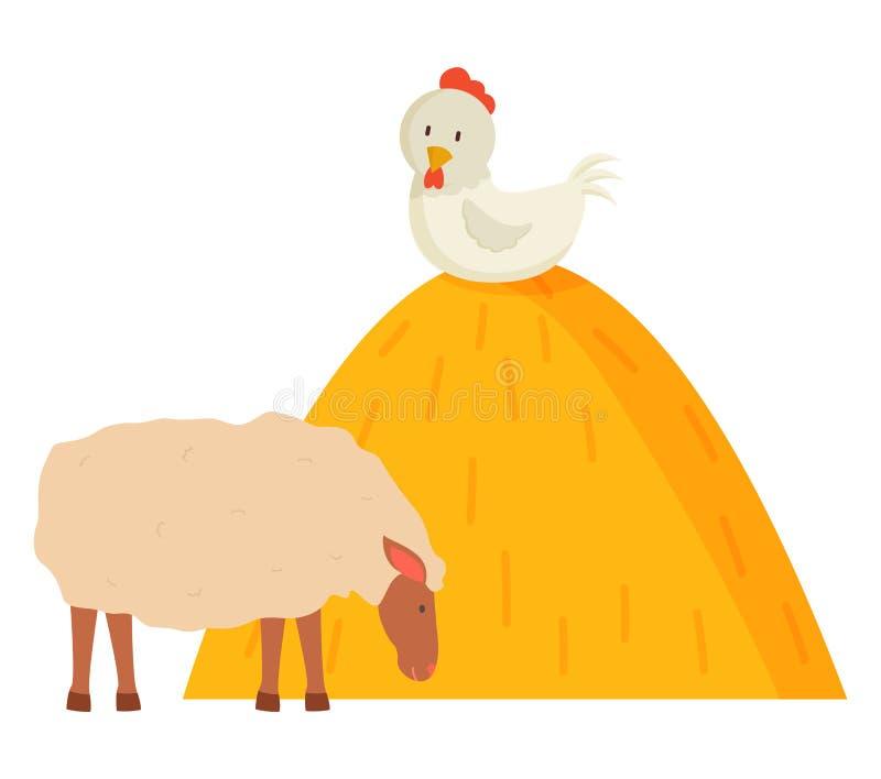 家畜和绵羊,牲口,乡下传染媒介 库存例证