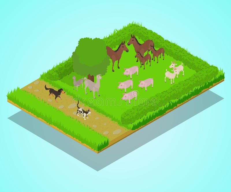 家畜概念横幅,等量样式 皇族释放例证