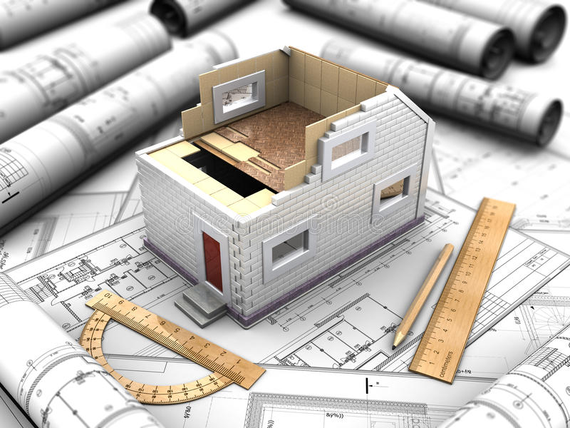 家的比例模型 向量例证