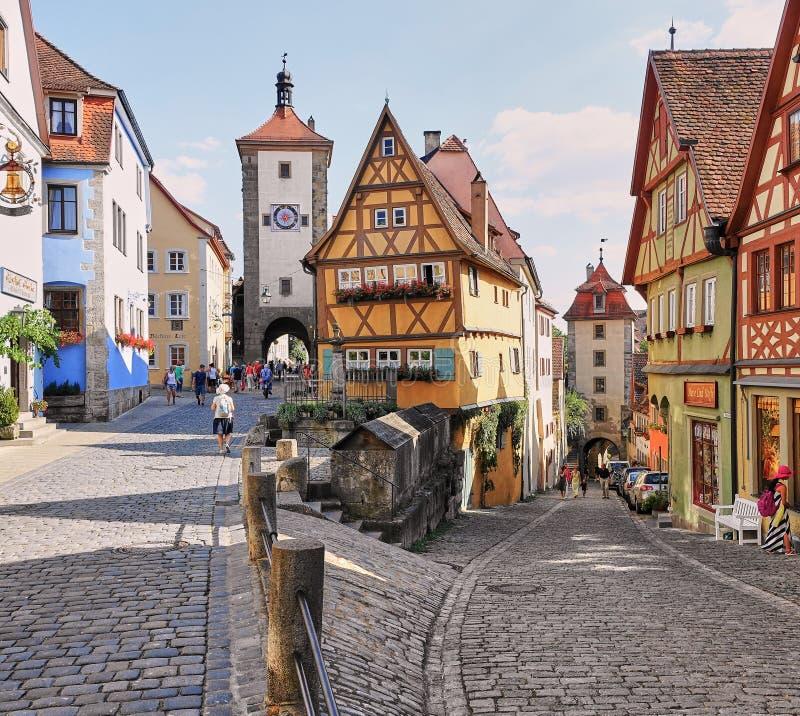 家著名的Plonlein多数被拍摄的房子在德国 免版税库存照片
