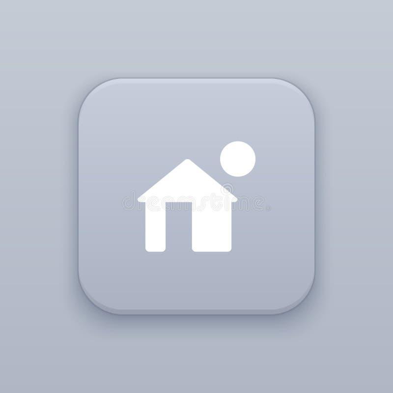 家,房子按钮,最佳的传染媒介 库存例证